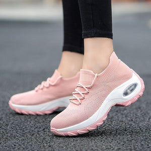 Flying Woven Wedges Casual Shoes Women High Heel Sneakers Women Platform Shoes Zapatilla De Mujer Outdoor Walking Shoes