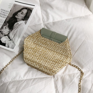 Hexagon Multi Style Straw+leather Handbag Women Summer Rattan Bag Handmade Woven Beach Circle Bohemia Shoulder Bag