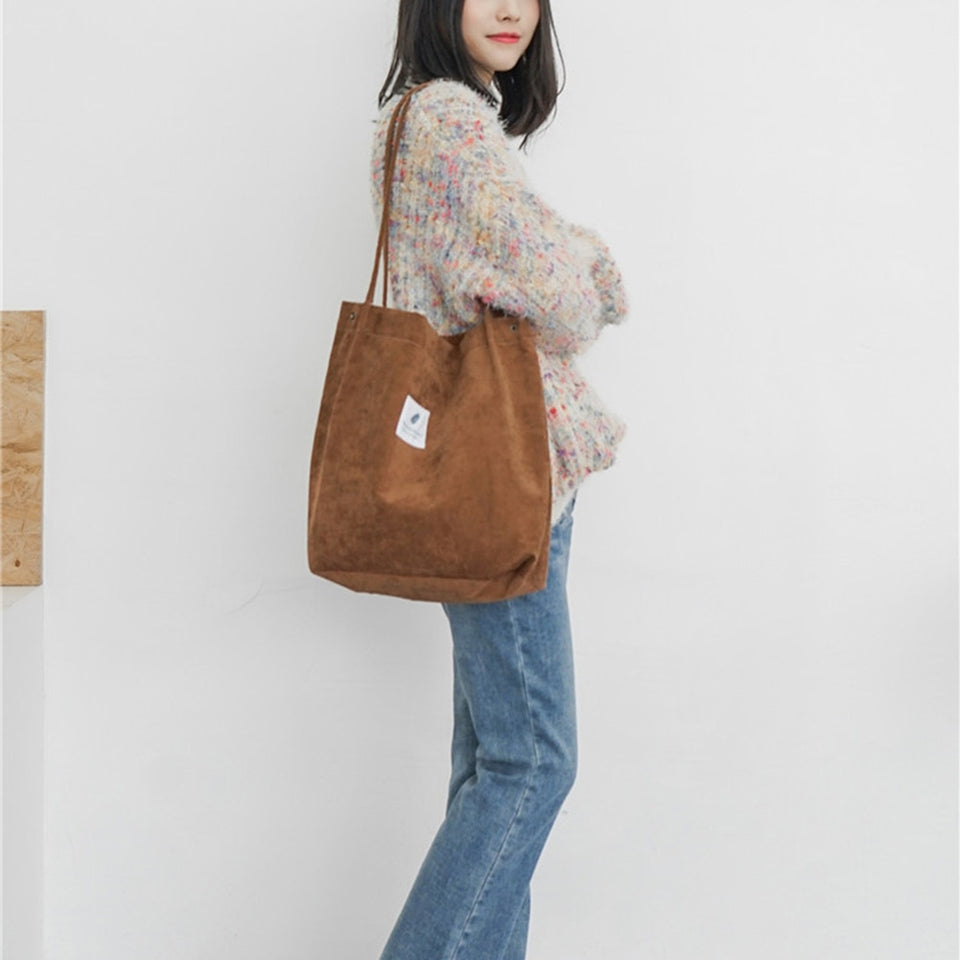 High Capacity Women Corduroy Tote Ladies Casual Shoulder Bag Foldable Reusable Shopping Beach Bag