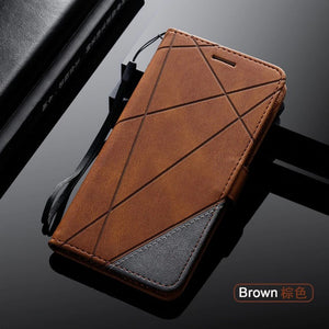 Stand Business Phone Holster For HUAWEI Stripe Wallet Rhombus Case Cover