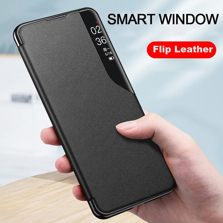 Samsung Smart View Flip Case Luxury Magnetic Leather Kickstand Window Shockproof Cover