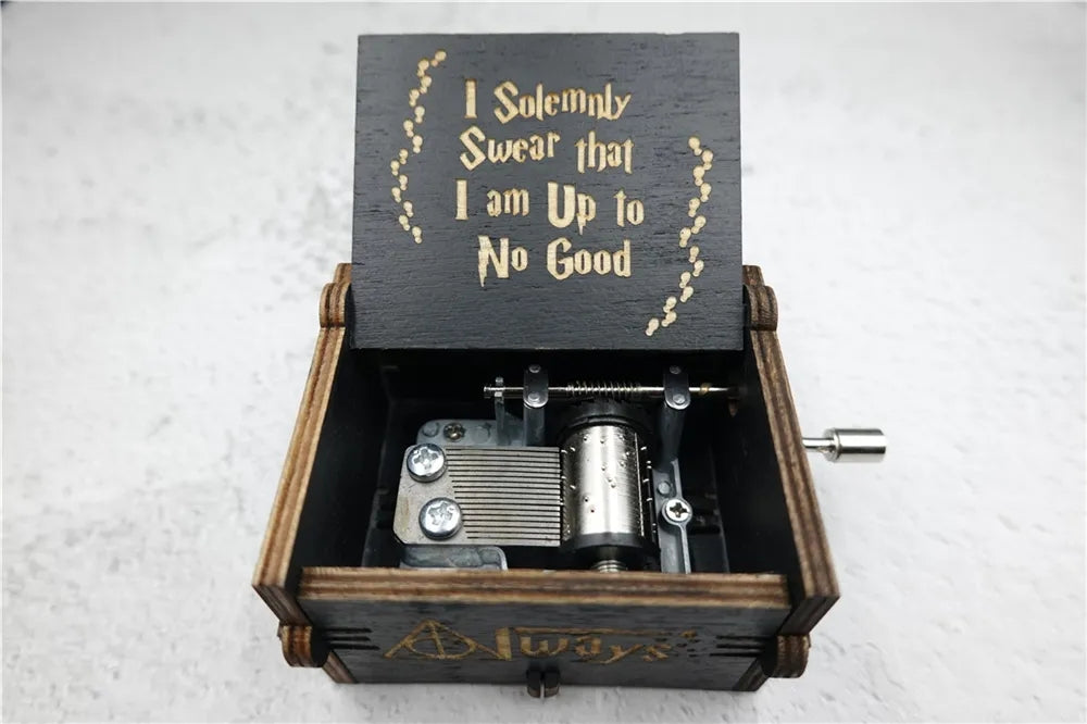 Hand-cranked Harry Potter Mini Music Box Wooden Rotating Creative Graduation Gift for Boys and Girls
