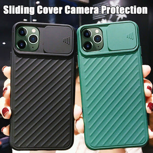 Camera Protection Phone Case For iPhone Slide Soft Silicone Shockproof Matte Cover