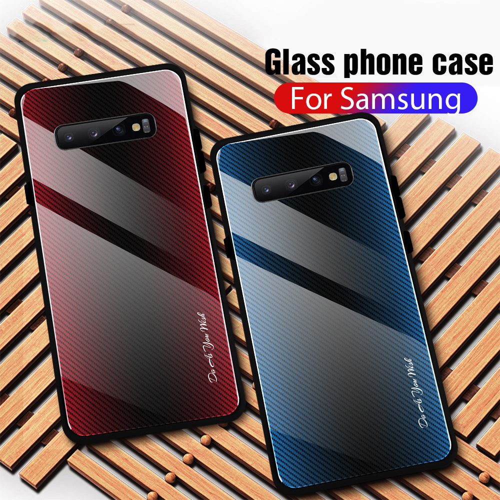 Gradient Tempered Glass Case Phone Back Cover For Samsung
