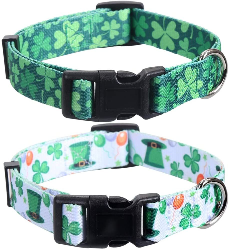 2 Pack St.Patrick's Day Dog Collar Adjustable Four Leaf Clover Small