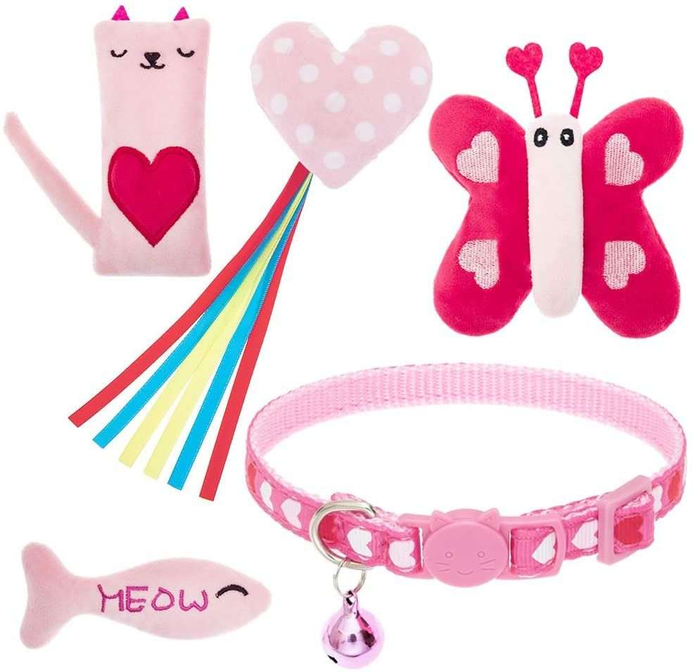 EXPAWLORER Valentine's Day Cat Collar & Catnip Toys Set for Indoor Cats - Heart Cat Collar, 4 Kitten Kicker Toys with Heart, Butterfly, Fish and Cat Shape