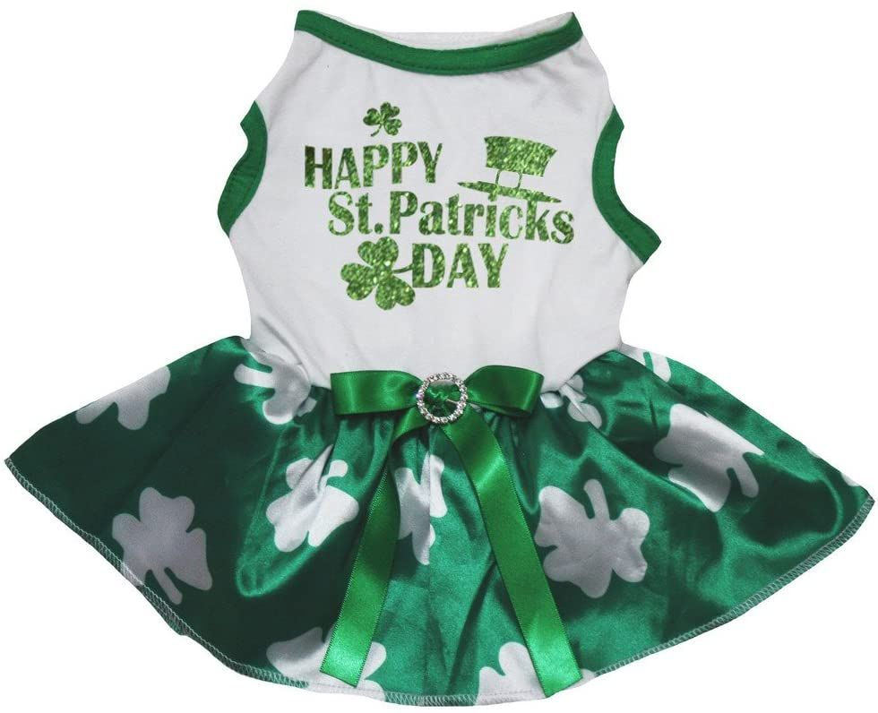 Petitebella Happy St Patrick's Day High-Hat Puppy Dog Dress (Black/Green Clovers, X-Small)