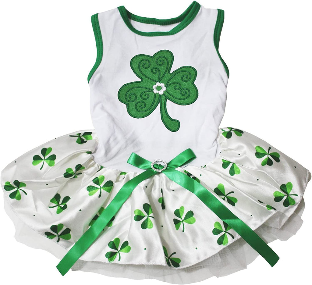 Petitebella Green Clover Puppy Dog Dress (White/Clovers, Small)
