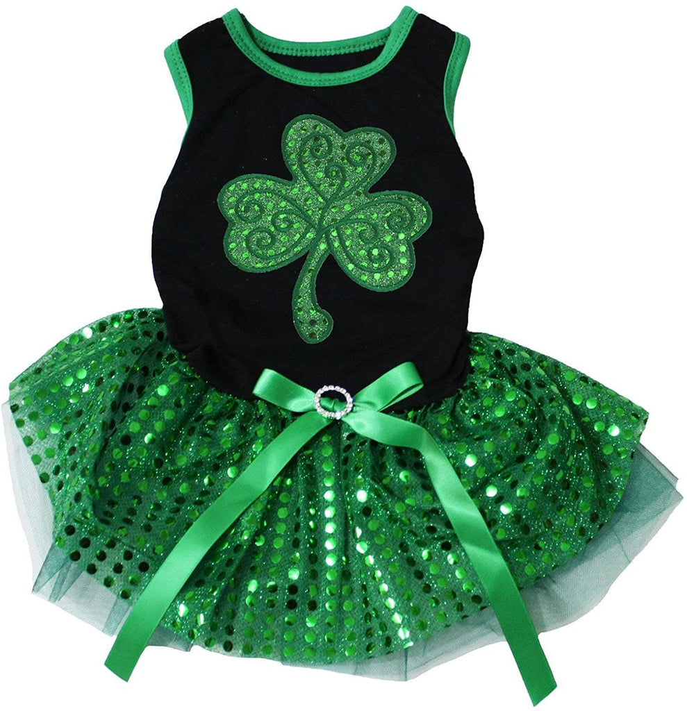 Petitebella Green Sequins Clover Puppy Dog Dress (Black/Green Sequins, Medium)