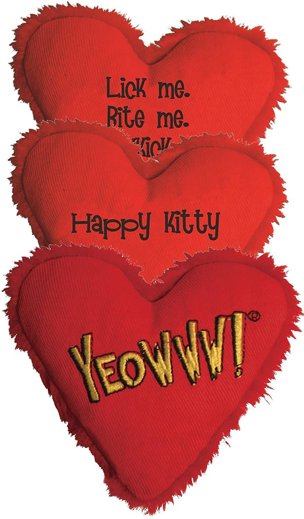 Yeowww! Heart Attack Pack: 3X 100% Organic Catnip Heart Cat Toys, Each with a Different Phrase