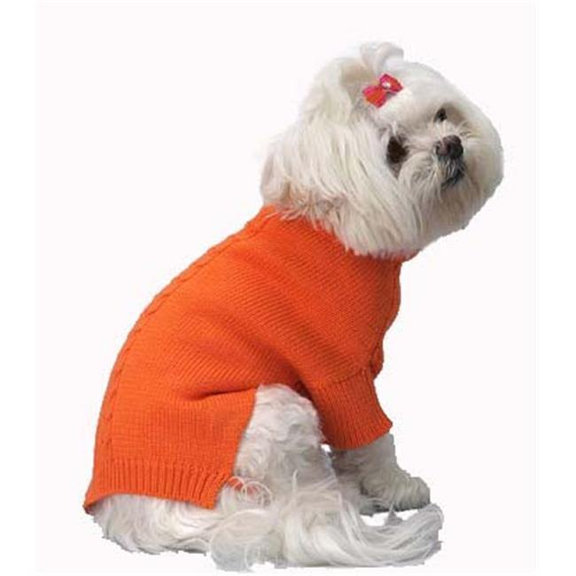 A Pets World 07153707-10 Mercerized Cotton Roll Neck Cable Orange Citrus Dog Sweater - Furry Friend Frocks
