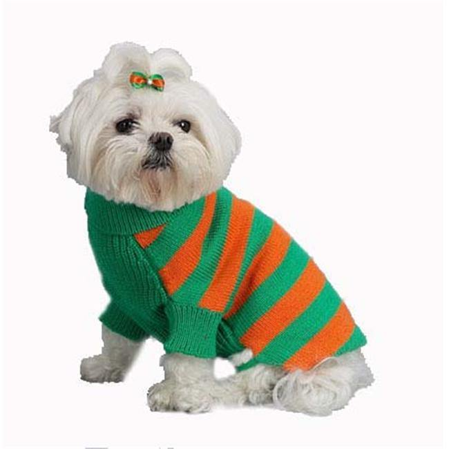 A Pets World 07153803-10 Mercerized Cotton Grass-Orange Rugby Dog Sweater - Furry Friend Frocks