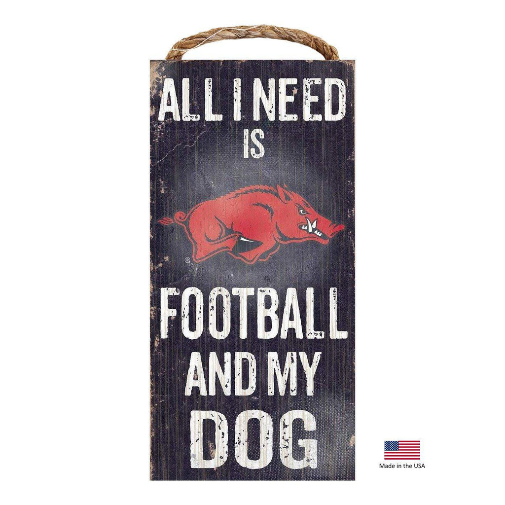 Arkansas Razorbacks Distressed Football And My Dog Sign - Furry Friend Frocks