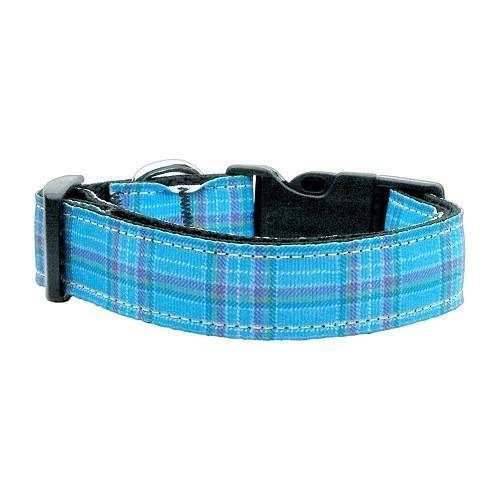 Blue Plaid Nylon Ribbon Dog Collar - Furry Friend Frocks