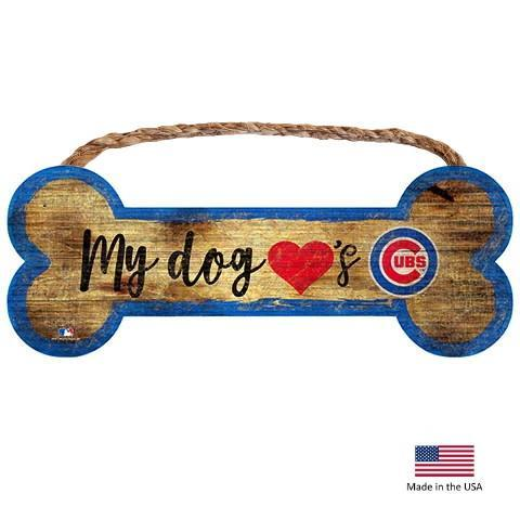 Chicago Cubs Distressed Dog Bone Wooden Sign - Furry Friend Frocks