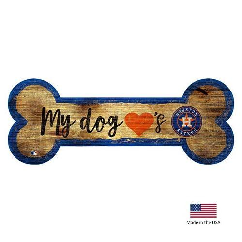 Houston Astros Distressed Dog Bone Wooden Sign - Furry Friend Frocks