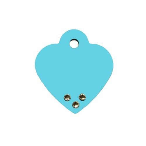 Turquoise Small Heart Id Tag W- Clear Stones - Furry Friend Frocks