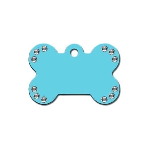 Diva Turquoise Large Bone Id Tag W- Clear Stones - Furry Friend Frocks