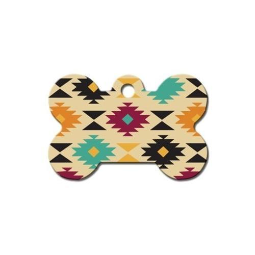 Aztec Multi-color Large Bone Id Tag - Furry Friend Frocks
