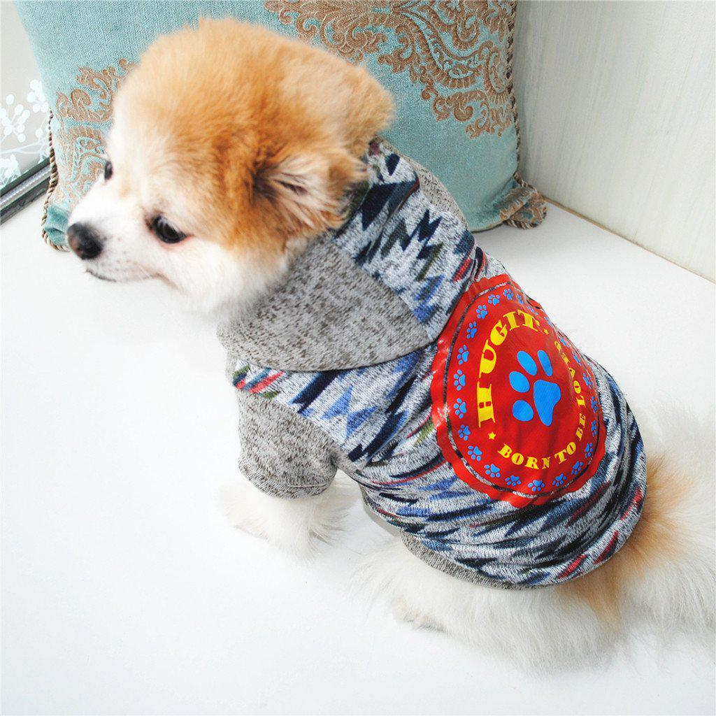 Small Dog Clothing For Puppy Big Large Size Dog Pet Clothes Color Stitching Cat Print Clothes Dog Coat Shirt Winter Sweatshirt
