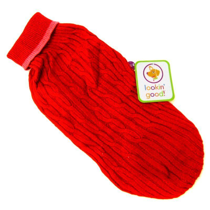 Fashion Pet Cable Knit Dog Sweater - Red-Apparel Sweaters & Pajamas-Furry Friend Frocks