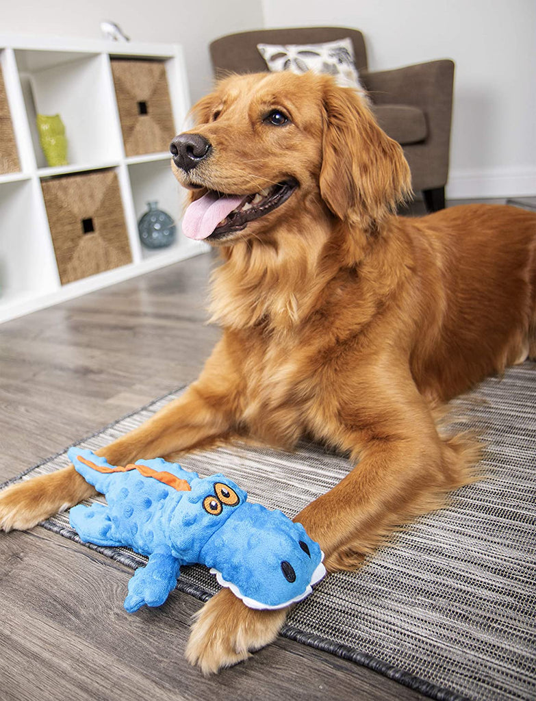 goDog Gators with Chew Guard Technology Plush Squeaker Dog Toy Blue