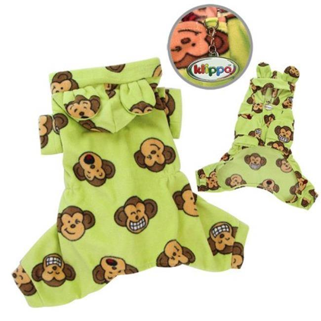 Adorable Silly Monkey Fleece Dog Pajamas and Bodysuit With Hoodand#44; Lime - Medium - Furry Friend Frocks