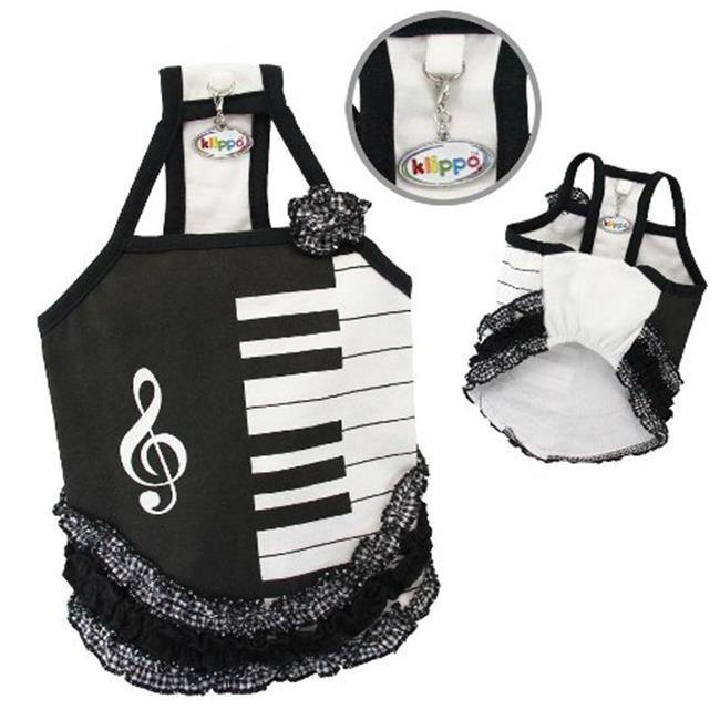 Adorable Piano Dress With Ruffles - Extra Large - Furry Friend Frocks
