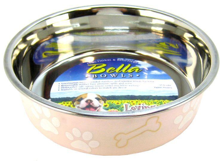 Loving Pets Stainless Steel & Light Pink Dish with Rubber Base-Dishes Stainless Steel-Furry Friend Frocks