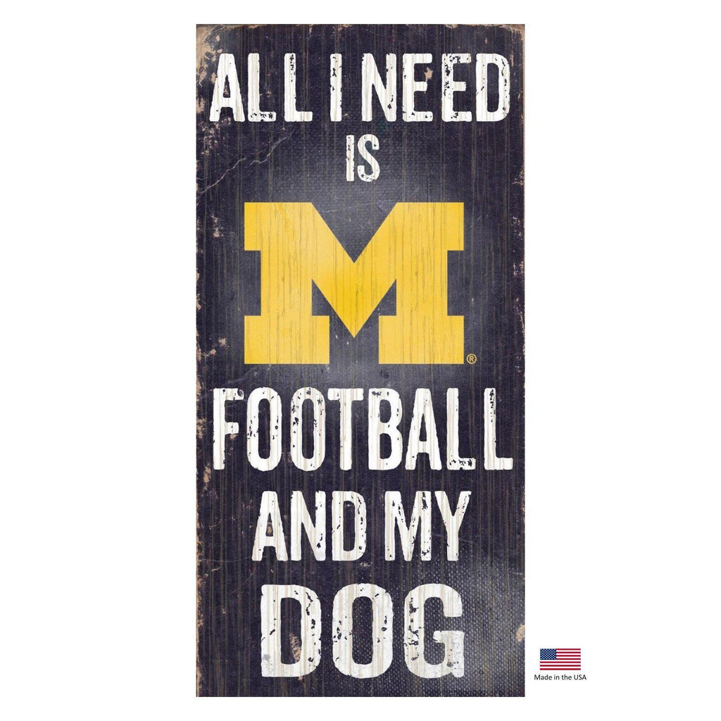 Michigan Wolverines Distressed Football And My Dog Sign - Furry Friend Frocks