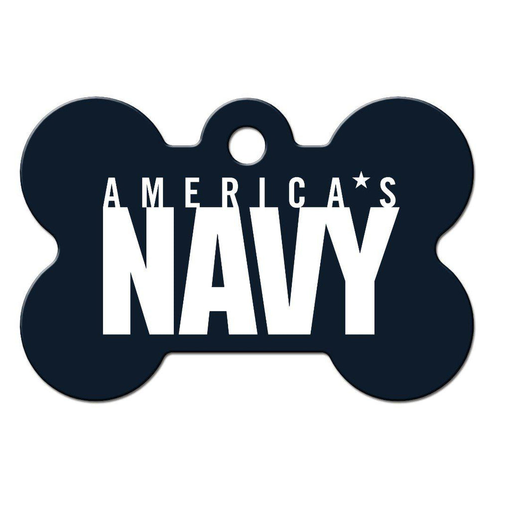 Navy Large Bone Id Tag - Furry Friend Frocks