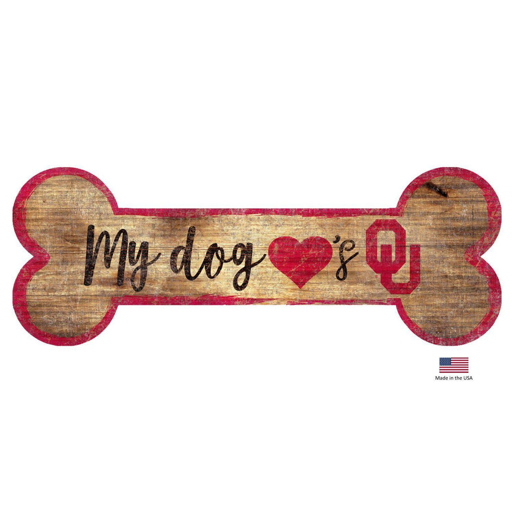 Oklahoma Sooners Distressed Dog Bone Wooden Sign - Furry Friend Frocks