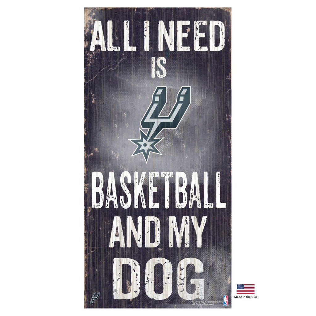 San Antonio Spurs Distressed Basketball And My Dog Sign - Furry Friend Frocks