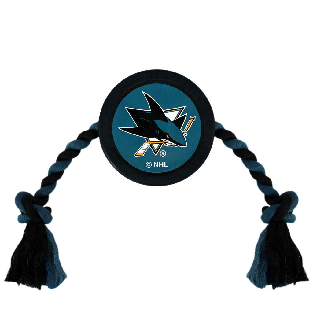 San Jose Sharks Pet Hockey Puck Rope Toy - Furry Friend Frocks