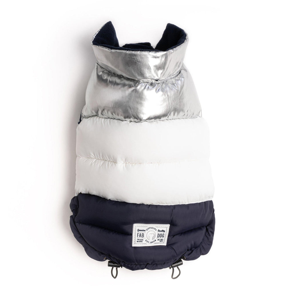 Silver, White, & Navy Color Block Puffer - Furry Friend Frocks