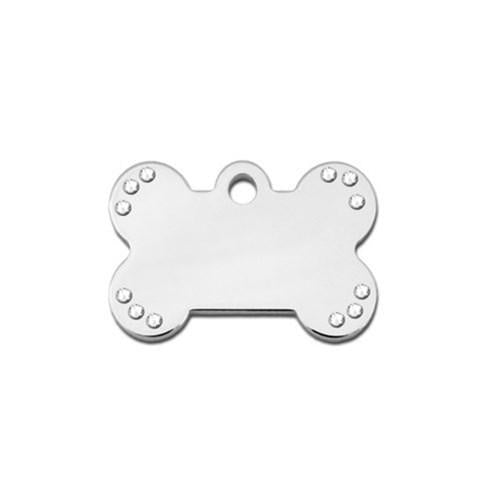 Small Studded Swarovski Crystal Bone Id Tag - Furry Friend Frocks