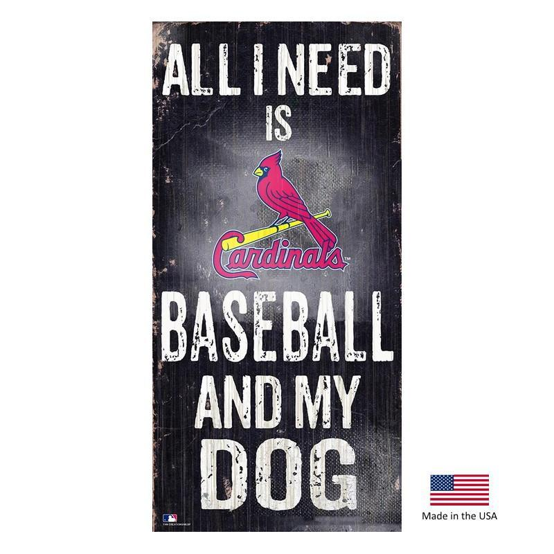 St. Louis Cardinals Distressed Baseball And My Dog Sign - Furry Friend Frocks