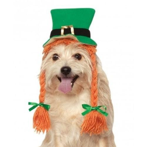 St. Patty's Day Pet Hat With Braids - Furry Friend Frocks