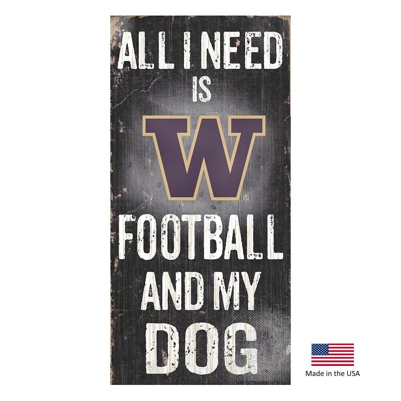 Washington Huskies Distressed Football And My Dog Sign - Furry Friend Frocks