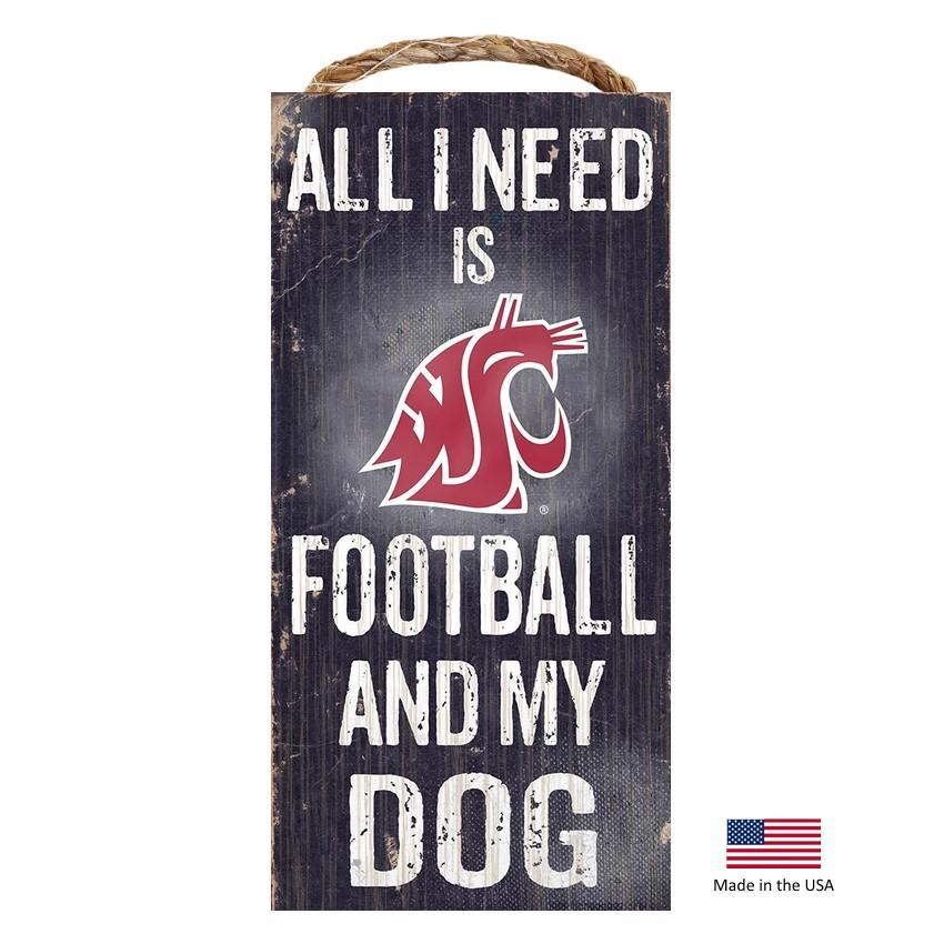 Washington State Cougars Distressed Football And My Dog Sign - Furry Friend Frocks