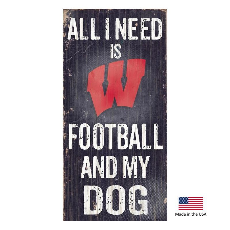 Wisconsin Badgers Distressed Football And My Dog Sign - Furry Friend Frocks