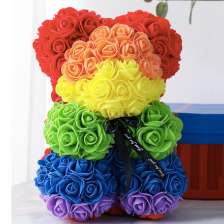 Spreading love with a Rainbow Rose Bear..