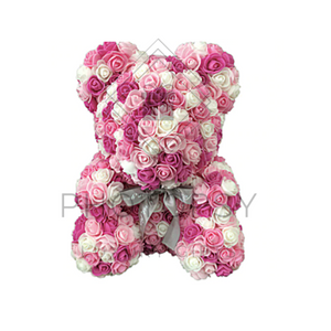 Multi-Coloured Rose Bear