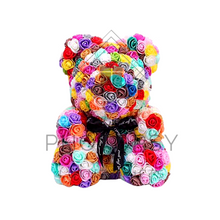 Load image into Gallery viewer, Multi-Coloured Rose Bear