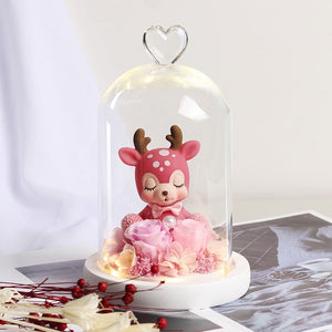 Beauty & Beast Rose Bear in Glass