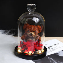 Charger l'image dans la galerie, Beauty & Beast Rose Bear in Glass