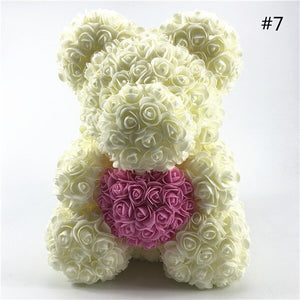 40CM Rose Bear with Heart
