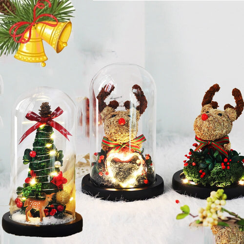 Christmas Rose Reindeer in Glass Dome
