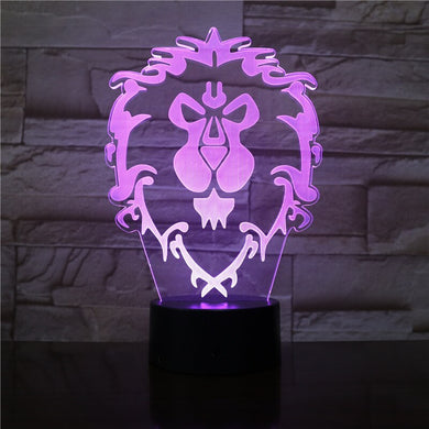 Lampe Lion 3D Illusion 7 couleurs