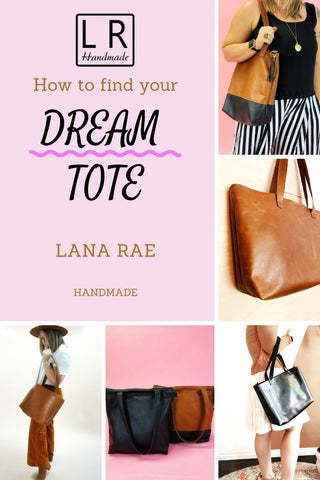 How to find your dream tote. women holding totes. black and brown leather totes